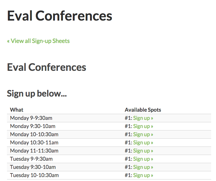 eval conference sign up sheet wordpress help wiki