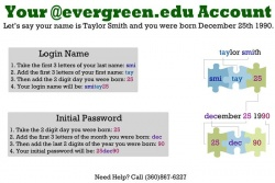 Default my.evergreen.edu credentials