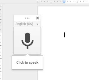 Image of Microphone Panel for the Voice Typing Tool in Google Docs.