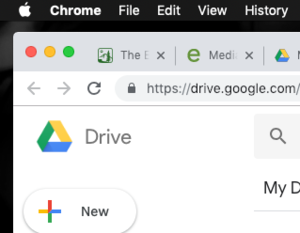 Image of the New icon in Google Drive.