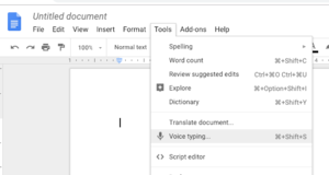 image of the Tools dropdown menu in Google Docs.
