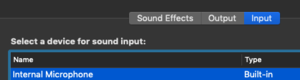 Image of setting the sound input on a Mac.