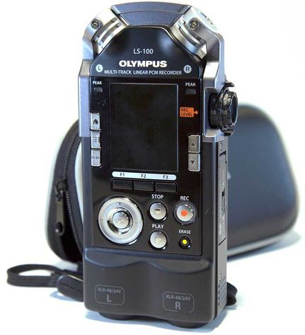 The LS-100 Audio Recorder sitting upright with the screen facing forward